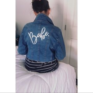 Vintage Custom Hand Painted Babe Denim Jean Jacket